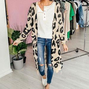 Sweaters - Leopard long sleeve midi open cardigan